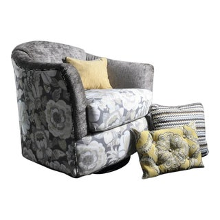 Floral Swivel Barrel Chair & Pillows