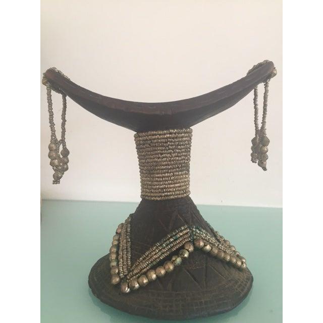 Image of Vintage African Wood & Bead Headrest
