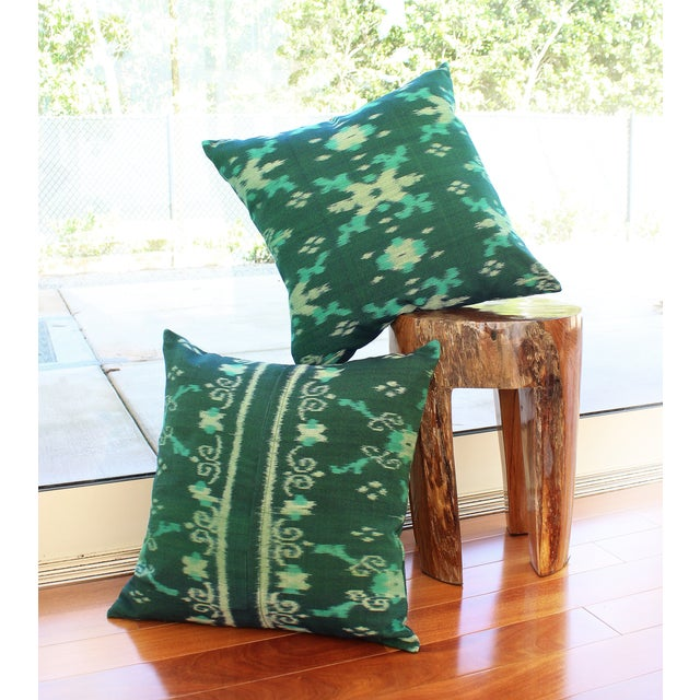 Green Boho Handwoven Ikat Pillow - Image 3 of 5