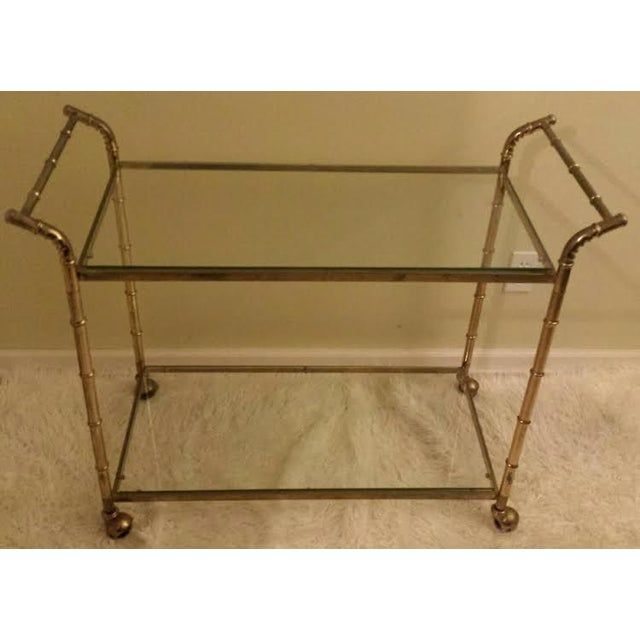 Faux Bamboo Brass Bar Cart - Image 2 of 8