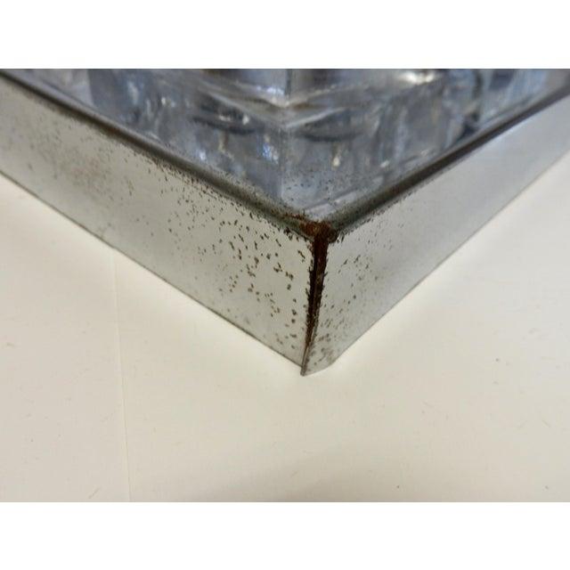 Image of Italian Sciolari Chrome & Crystal Flush Mounts - a Pair
