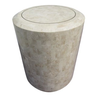 Maitland-Smith Tessellated Coral Stone Pedestal Table
