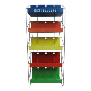 Vintage Chrome Multicolor Book Rack