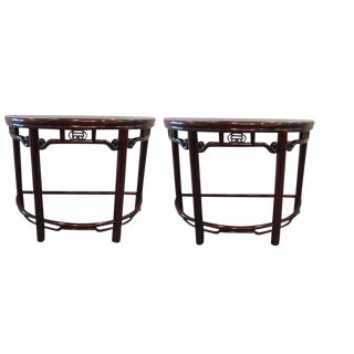 Asian Rosewood Demilune Tables- A Pair