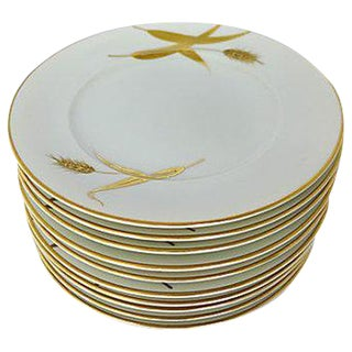 "Mid-Century ""Harvest"" Dessert Plates - Set of 10"