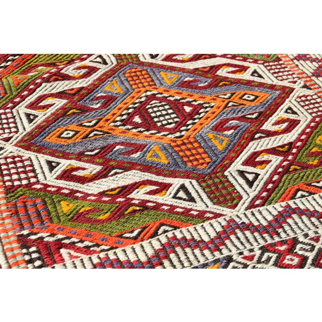 Anatolian Tribal Embroidered Kilim Area Rug -2′6″ × 3′10″ - Image 6 of 6