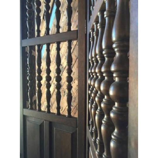 Walnut Mid Century Room Divider w/Carved Spindles - Image 3 of 8