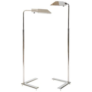 Cedric Hartman Style Chrome Floor Lamps - A Pair