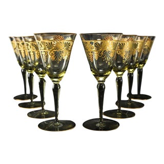 Venetian Amber Art Glass Gilt Water Goblets - Set of 8