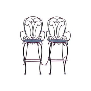 Woodard Scrolled Black Iron Bar Stools - A Pair