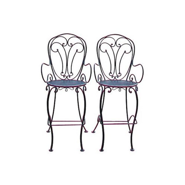 Image of Woodard Scrolled Black Iron Bar Stools - A Pair