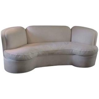 Vintage Curved White Sofa