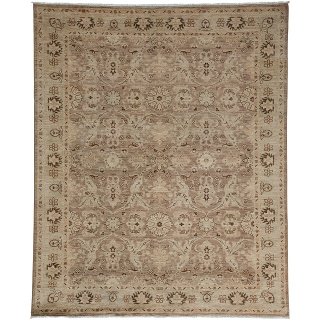 "New Oushak Hand Knotted Area Rug - 5'2"" x 6'3"" - Image 1 of 3"