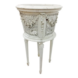 Antique French Cane & Wood Planter Stand