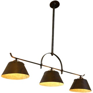 "Hand-Crafted Custom Three-Light Hanging ""Lucas"" Fixture"