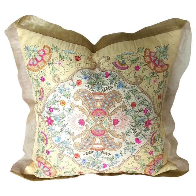 Silk Embroidered Pillow Cover - Image 1 of 6
