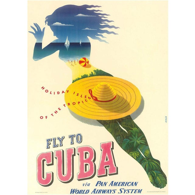 Image of Framed Cuba Travel Poster