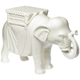 White Ceramic Elephant Side Table