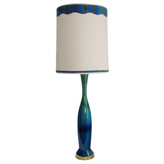 Mid-Century Italian Blue Green Ceramic Lamp