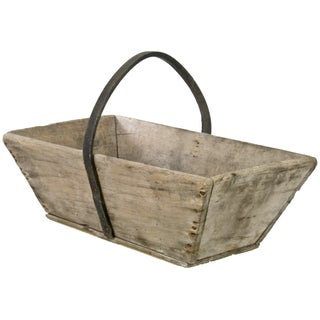 Vintage French Wood Garden Trug With Rubber Handle