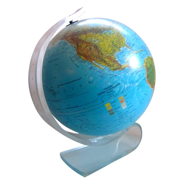 Vintage Globe with Thick Lucite Base - Image 1 of 9