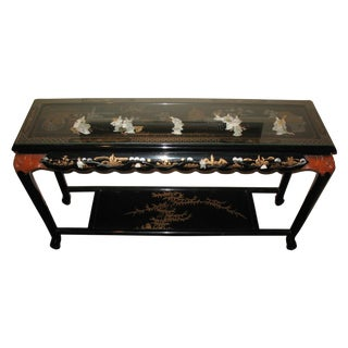 Black Lacquer Hand-Painted Console