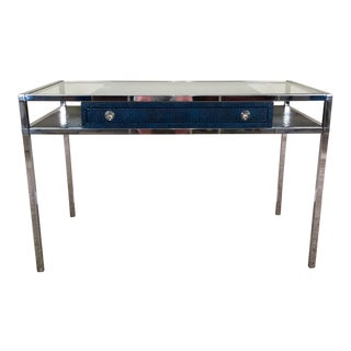 Milo Baughman Style Chrome Desk With Dark Blue Faux Snakeskin