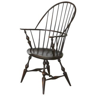 Vintage Bowback Windsor Armchair in Black Crackle Maple by D.R. Dimes