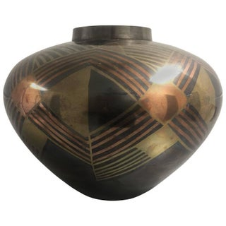 Art Deco Enameled Bronze Vase