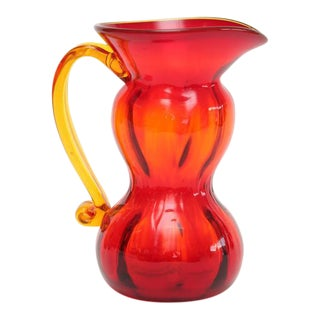 1960s American Two-Tone Blenko Glass Pitcher