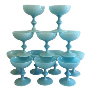 Blue Opaline Champagne Glasses, Set of 12