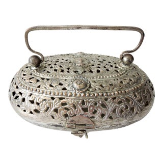 Indian Silver Plate Handled Catchall