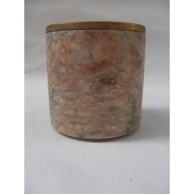 Mid-Century Style Carved Marble & Brass Container - Image 3 of 4