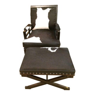Leather Cowhide Club Chair & Ottoman