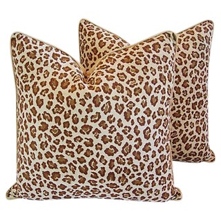 Custom Safari Leopard Velvet Pillows - A Pair