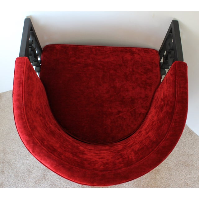 Wrought Iron and Red Velvet Club Chairs - Pair - Image 6 of 9