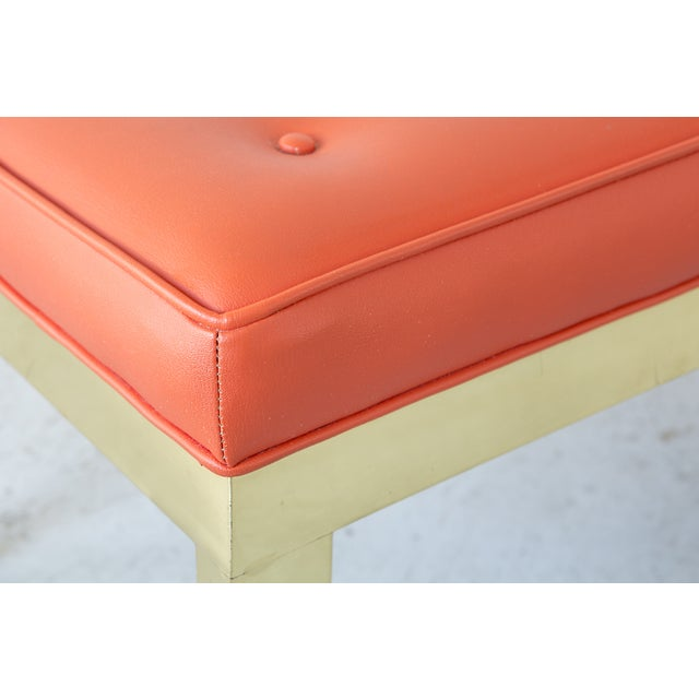 Image of Brass & Vinyl Bench Attributed to Milo Baughman