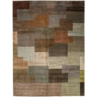 """New Tonal Stripe Hand Knotted Area Rug - 9'1"""" x 12'"""
