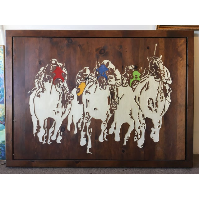 Horse Racing Carved Art by Ken Daddario - Image 2 of 8