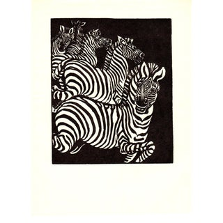 1938 Wuanita Smith Wild Zebras Woodblock