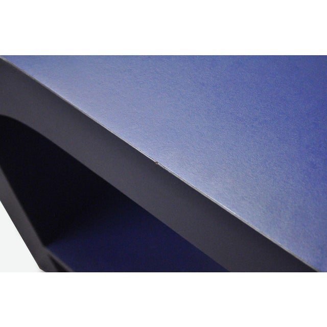 Mid Century Post Modern Blue Laminate Curved Waterfall Console - Image 8 of 11