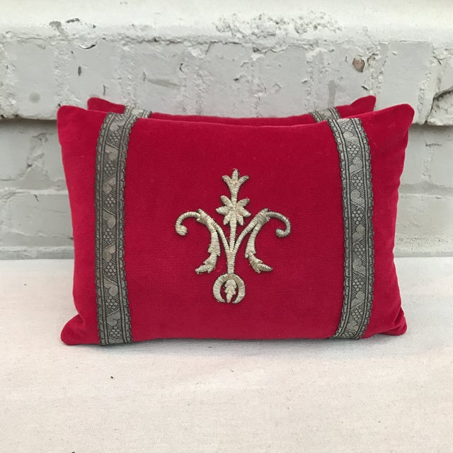 Red Appliqued Pillows - a Pair - Image 3 of 6