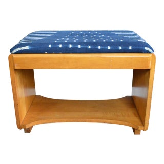 Art Deco Vintage Indigo Bench Blonde Wood