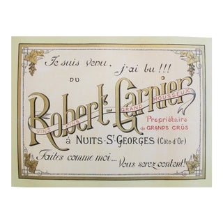 1910s French Alcohol Poster, Robert Garnier Nuits St-George