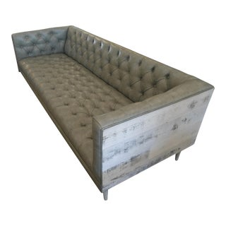 Gray Tufted Leatherette Sofa W/ Rustic Wood Back