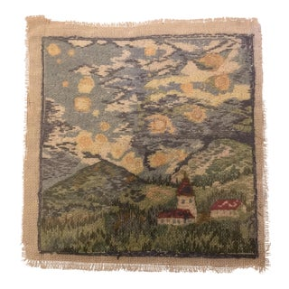 Vintage Needlepoint in the Style of a Post- Impressionist Landscape Painting Style