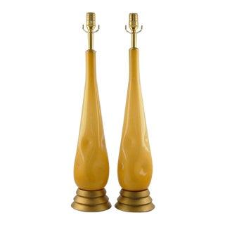 Dimpled Murano Butterscotch Teardrop Lamps