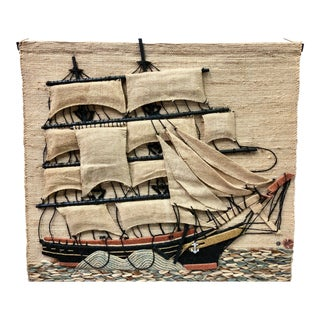 Don Freedman Macrame Wall Hanging of a Sailing Ship