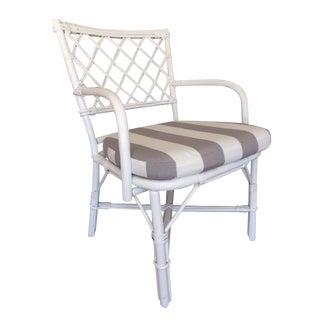 White Hollywood Regency Rattan Armchair