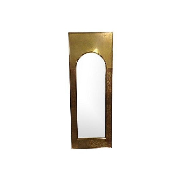 1970s Solid Brass Arched Framed Mirror - Image 1 of 4